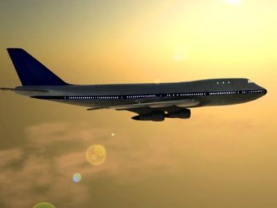 Airplane, dusk