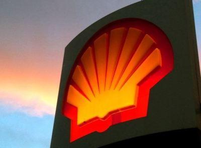 Shell sign at dusk