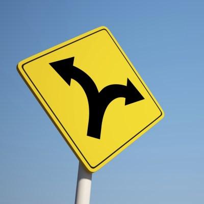 road fork sign