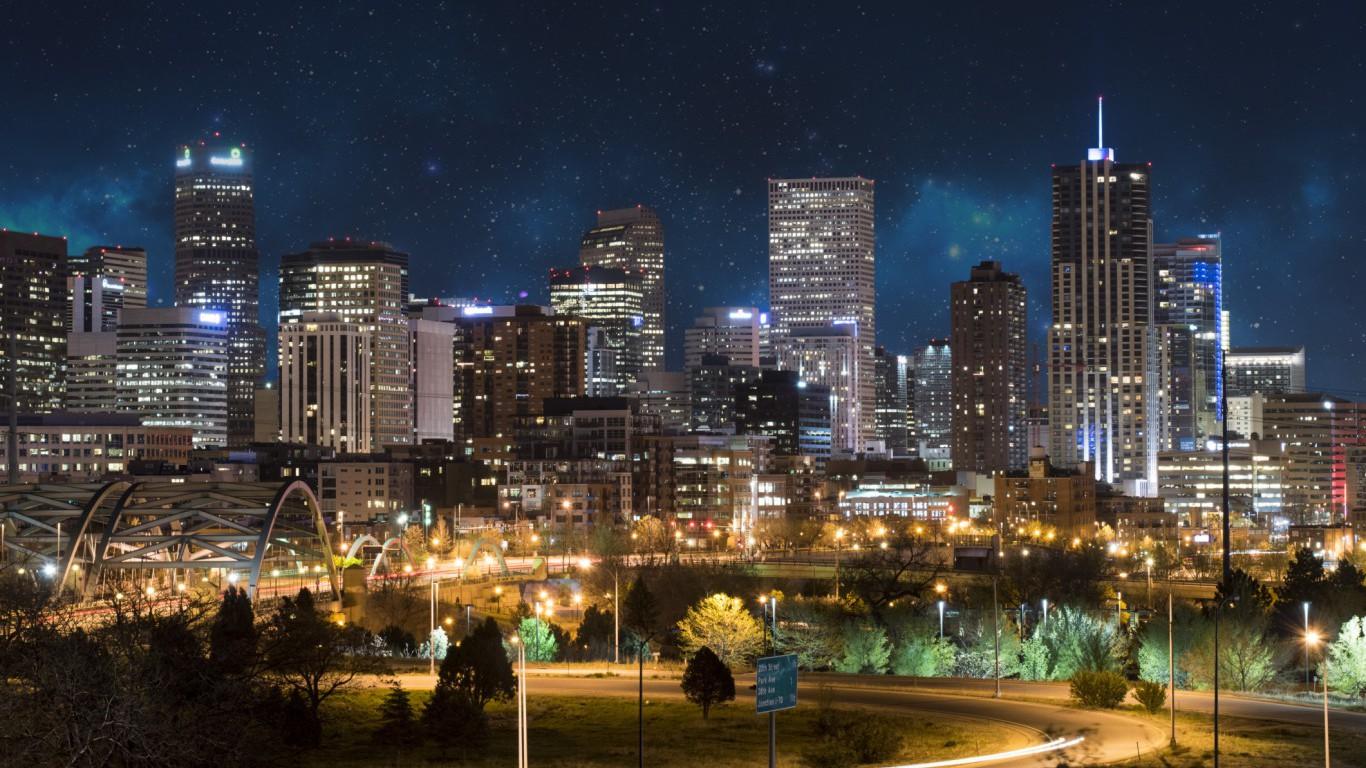 Denver at night, Colorado
