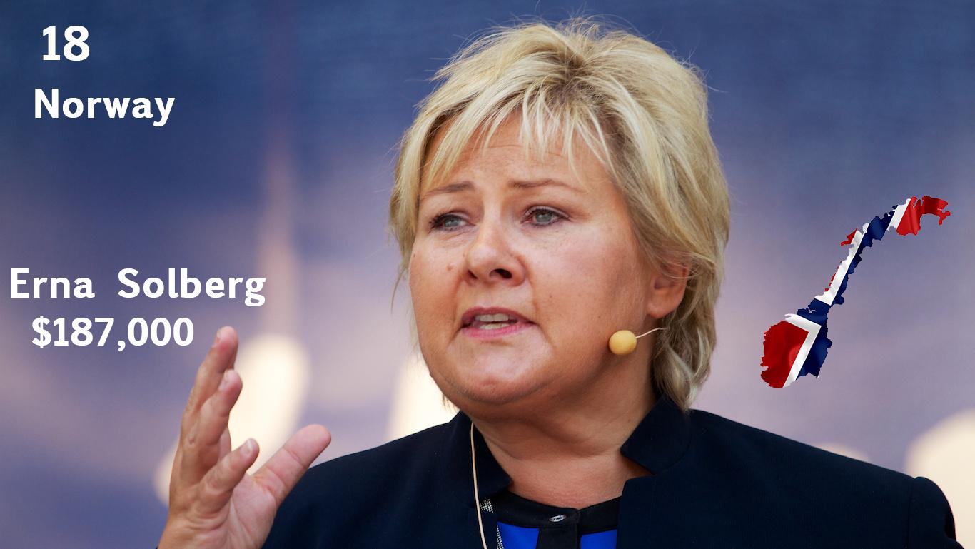 Erna Solberg, Prime Minister of Norway (salary)