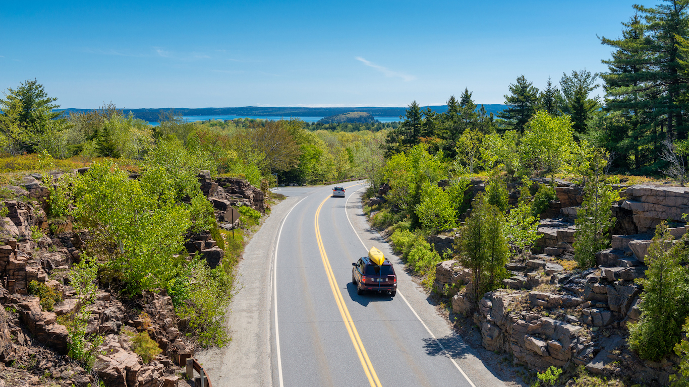 Road in Acadia National Park Maine