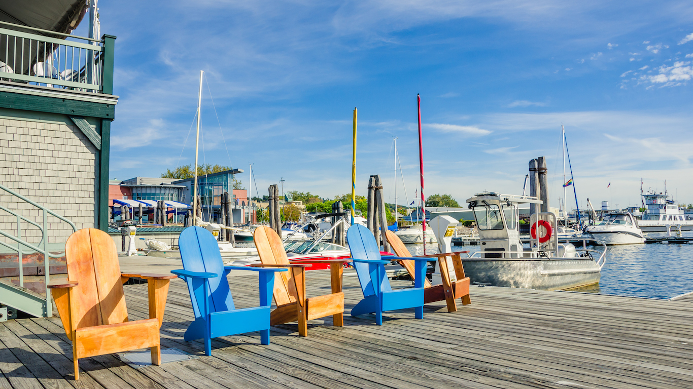 Colourful Chairs on a Jetty at Sunset, Burlington, Vermont