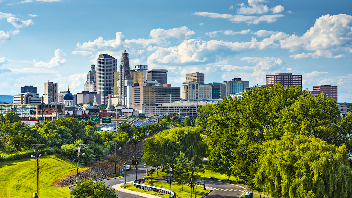 Skyline of Hartford Connecticut on a beautiful sunny day