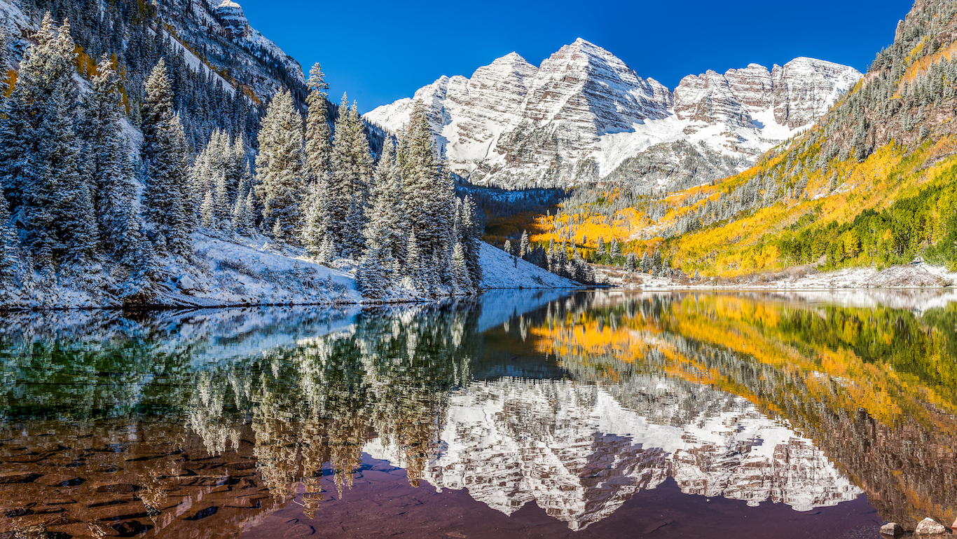 winter and Fall foliage at Maroon Bells, Aspen Colorado