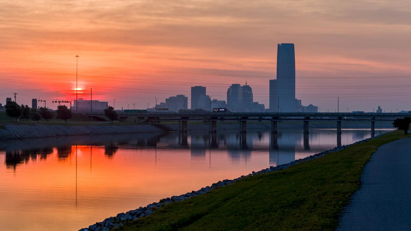 Sun rise over Oklahoma City, Oklahoma.