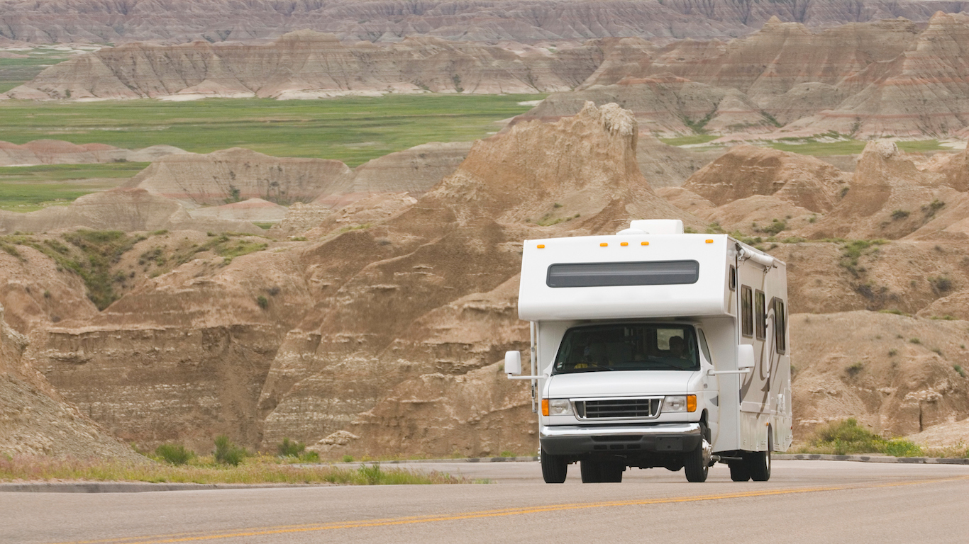 RV class C climbing scenic mountain road in the Badlands,