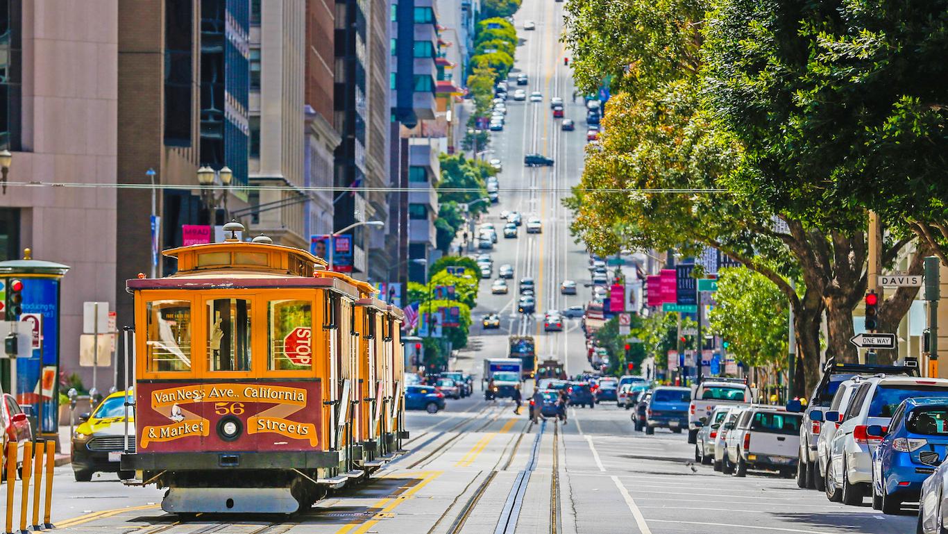The historic cable car on San francisco city, california
