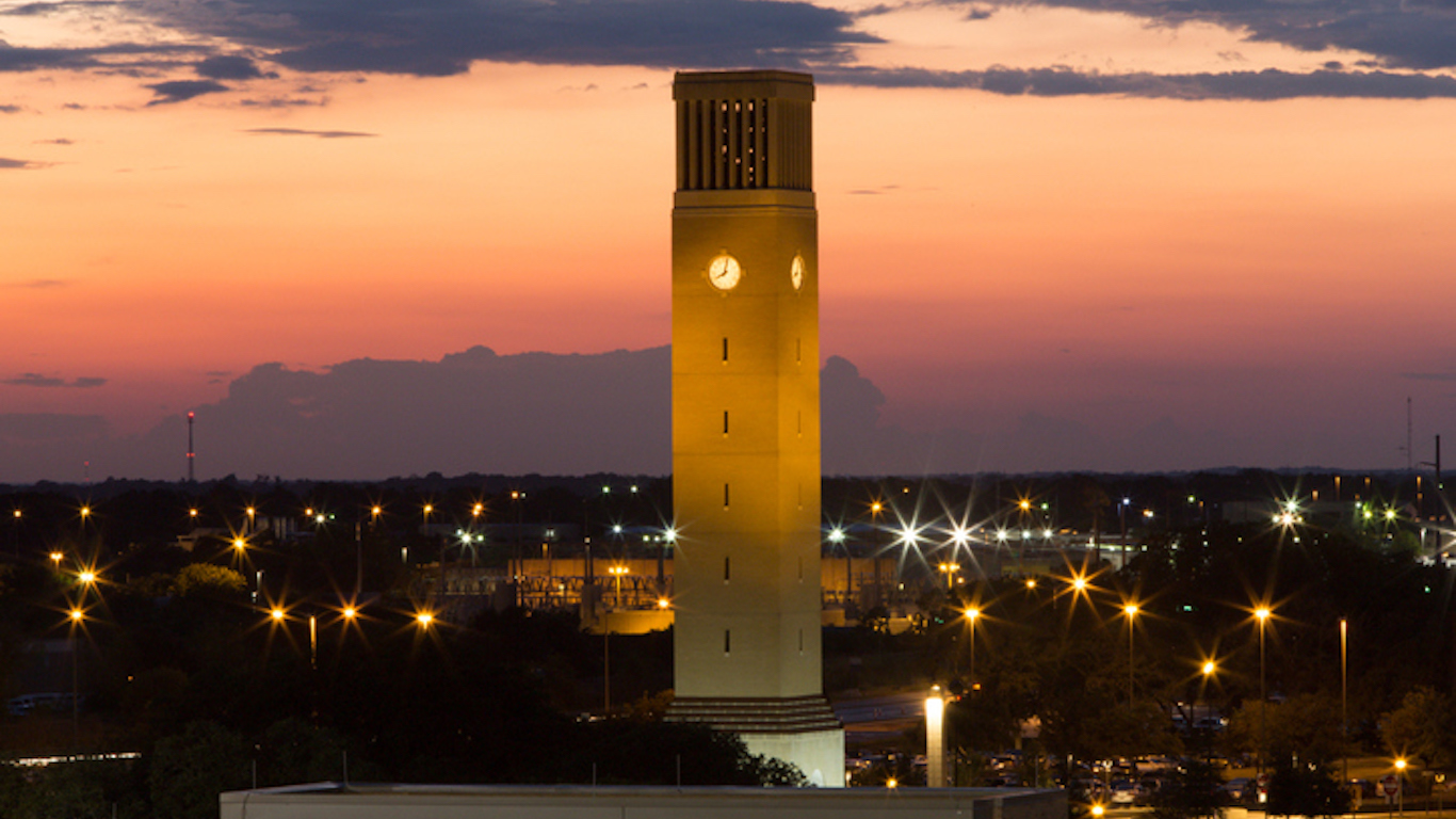 Albritton Bell Tower in Twilight, College Station, Texas