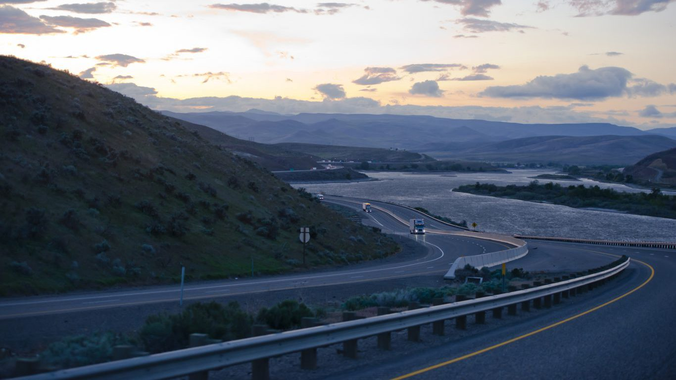 Oregon - Columbia Gorge winding highway with semi trucks evening traffic