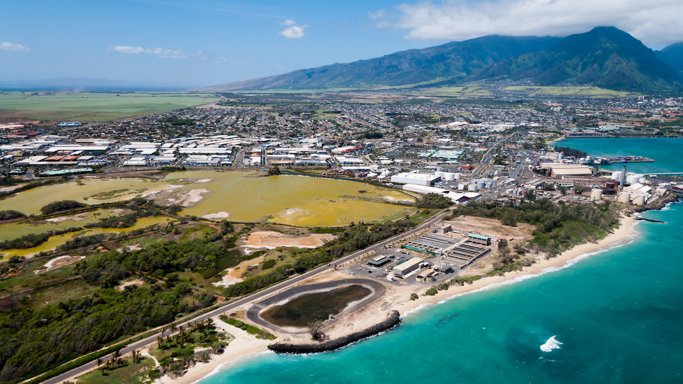 An aerial view of a Maui beach, Kahului, Hawaii