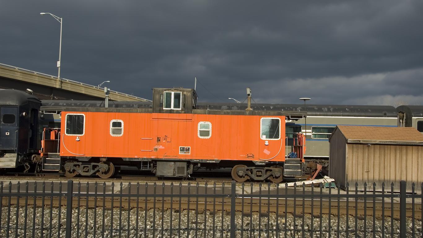 Orange Caboose in Utica New York