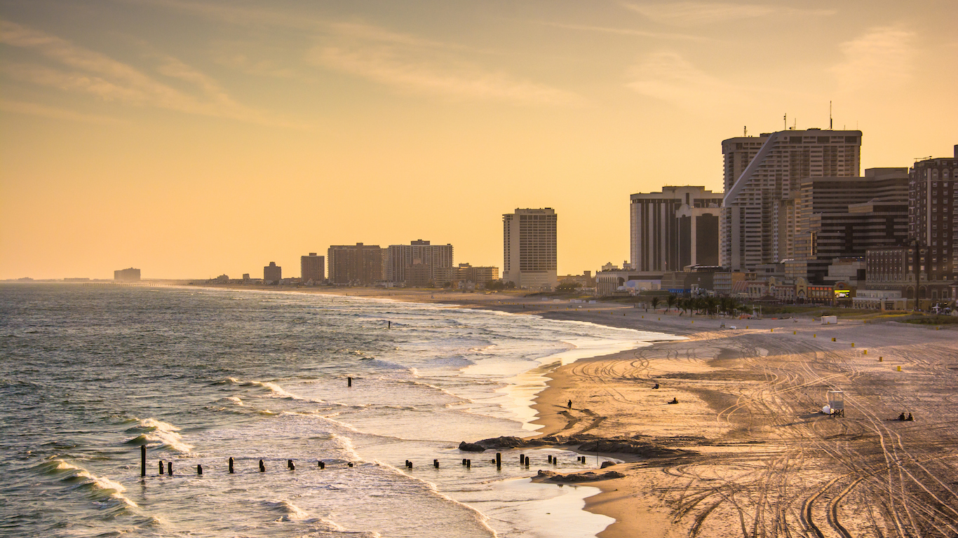 View of the beach and skyline in Atlantic City, New Jersey
