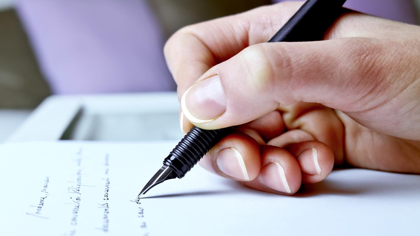 Handwriting, Correspondence Clerk, writing a letter