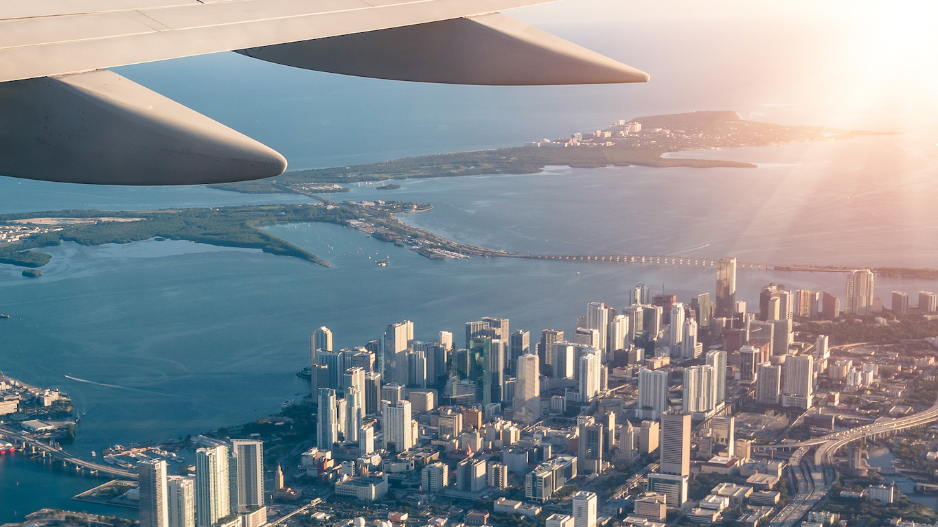 Miami skyline from the airplane, Florida