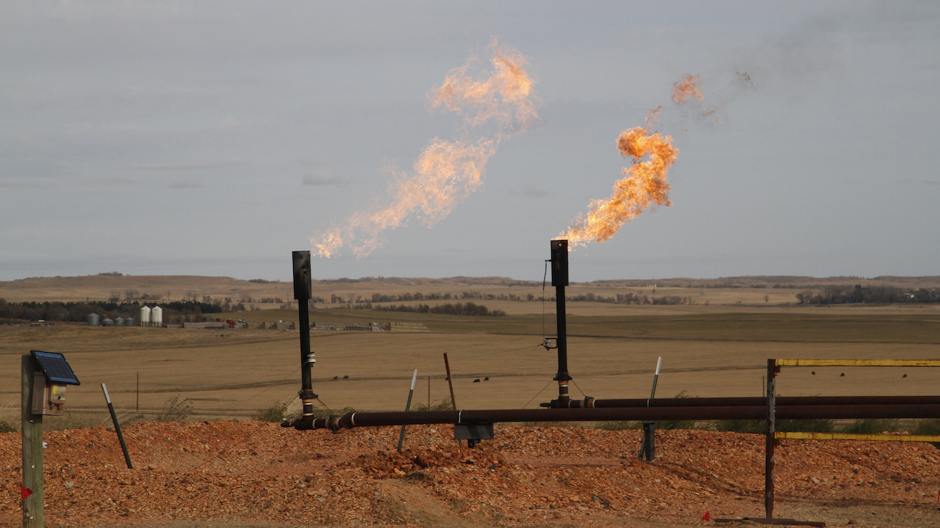 Natural Gas flaring from an oil well in North Dakota.