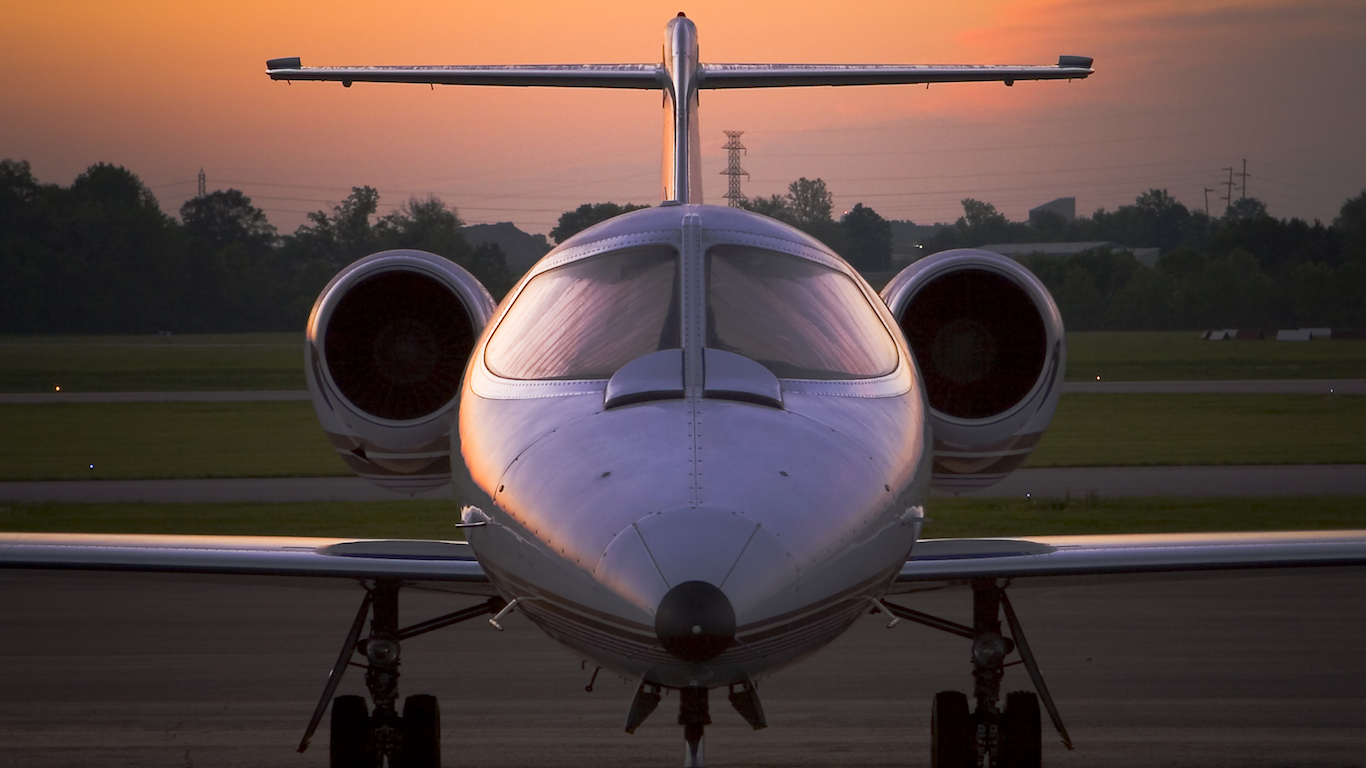 Front view of a corporate jet at sunset, Airplane, Kentucky
