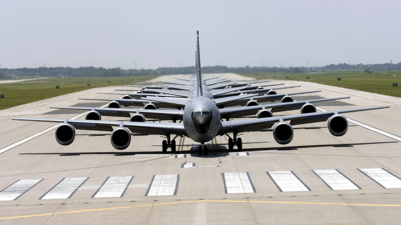 KC-135 Stratotankers demonstrate the elephant walk formation.