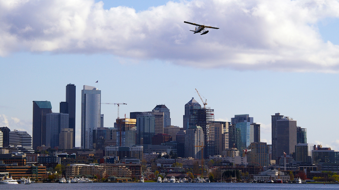 Airplane over Seattle, Washington