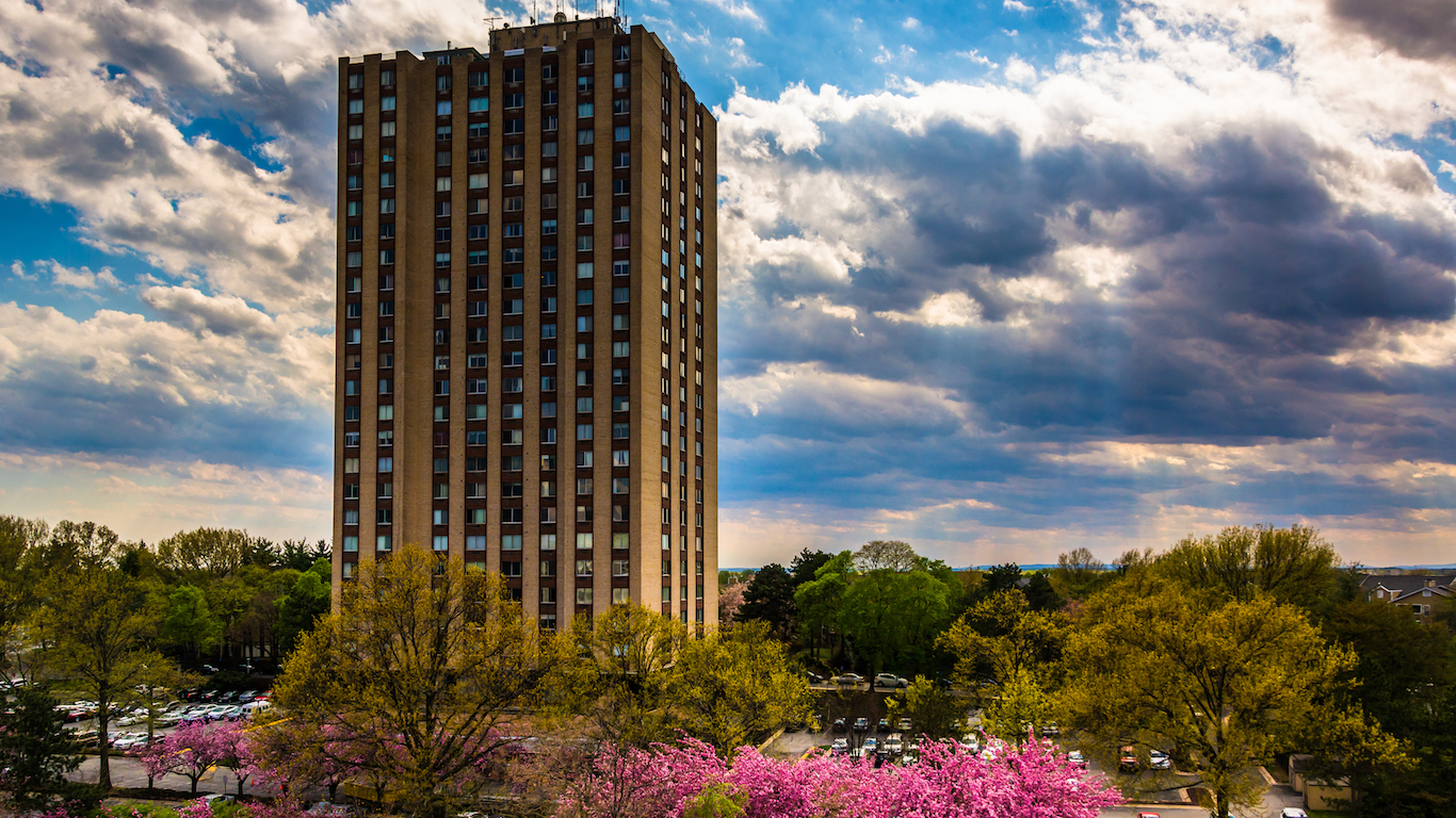 Building and colorful trees in Gaithersburg, Maryland.