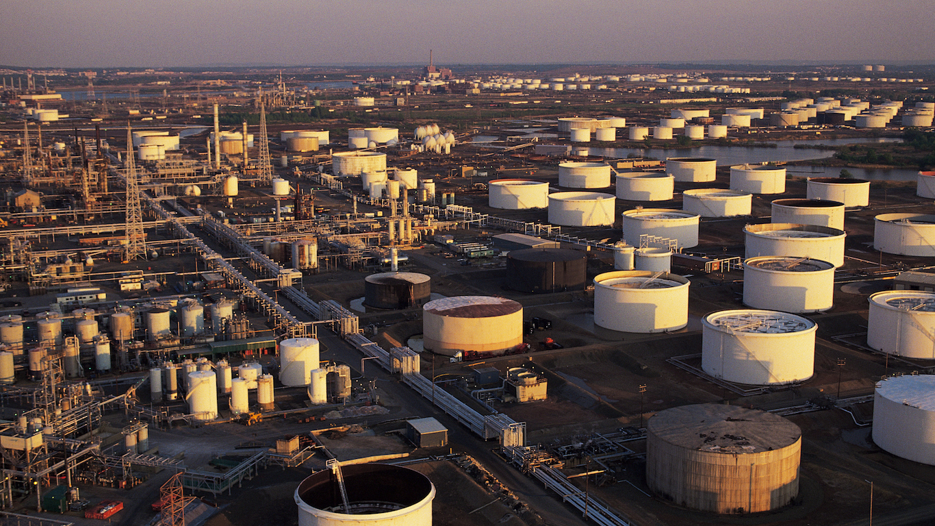 Oil refinery and storage tanks , Linden , NJ , USA