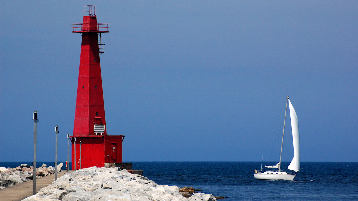 Lighthouse and sailboat, Muskegon, Michigan