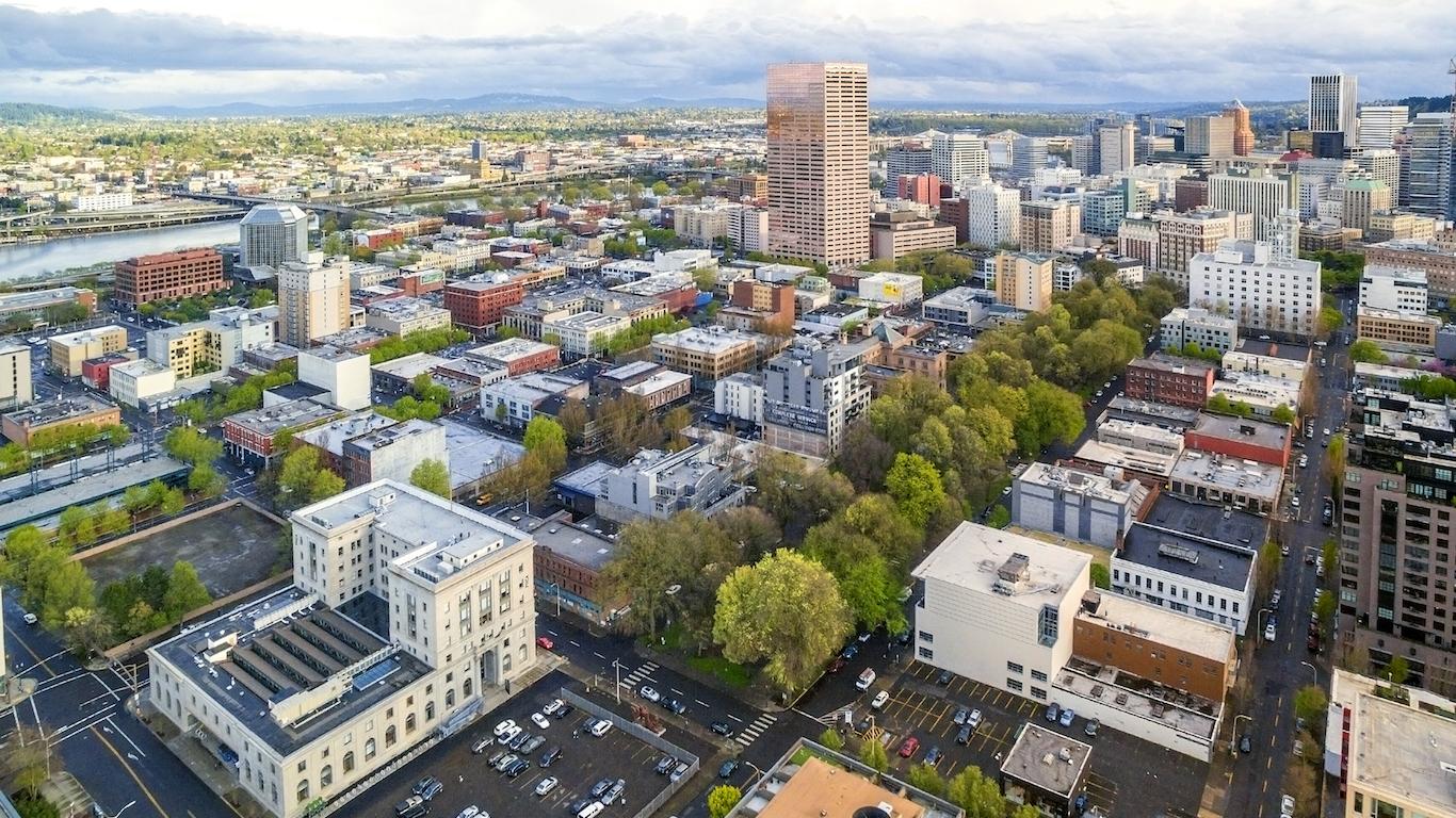 Portland, Oregon's Oldtown (Aerial)