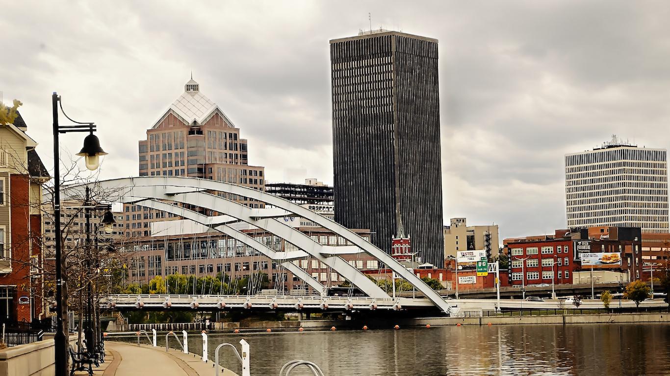Rochester, New York river cityscape
