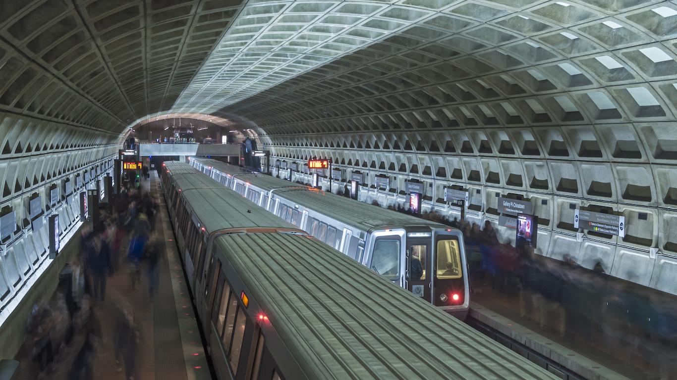 Washington DC subway station, trains