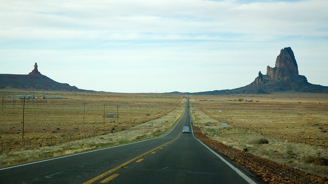 Agathla Peak, Monument Valley, highway in Arizona Apache County