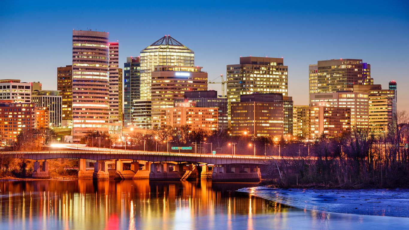 Rosslyn, Arlington, Virginia, USA Arlington County, downtown skyline on the Potamac River.