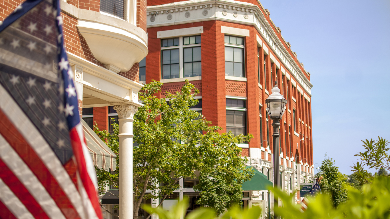 Downtown town square in Fayetteville, Arkansas