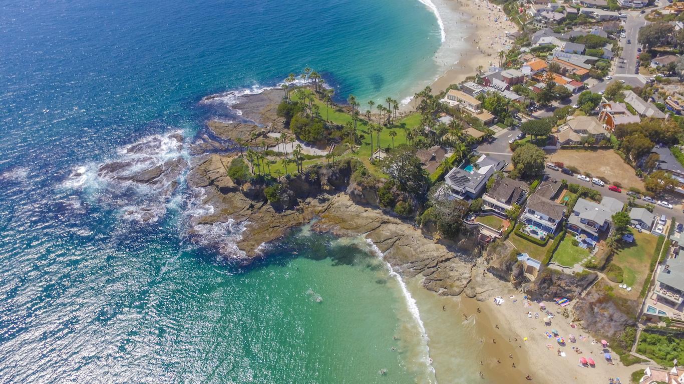 A view of Shaw's Cove, Laguna Beach in Orange County, California