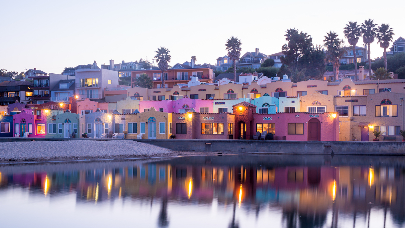 Mediterranean-style beach houses in Capitola of Santa Cruz County in California