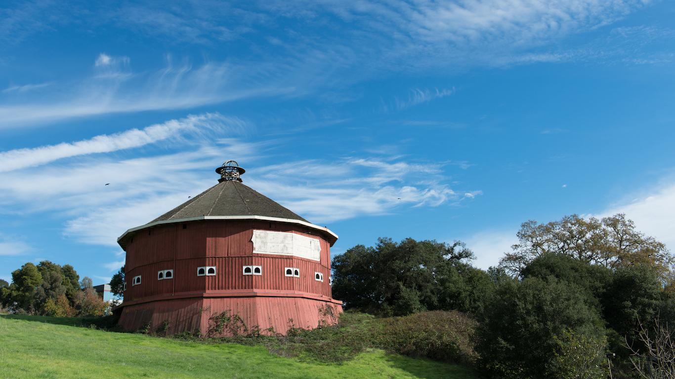 Historical red round barn at Fountaingrove Santa Rosa, Sonoma County, California