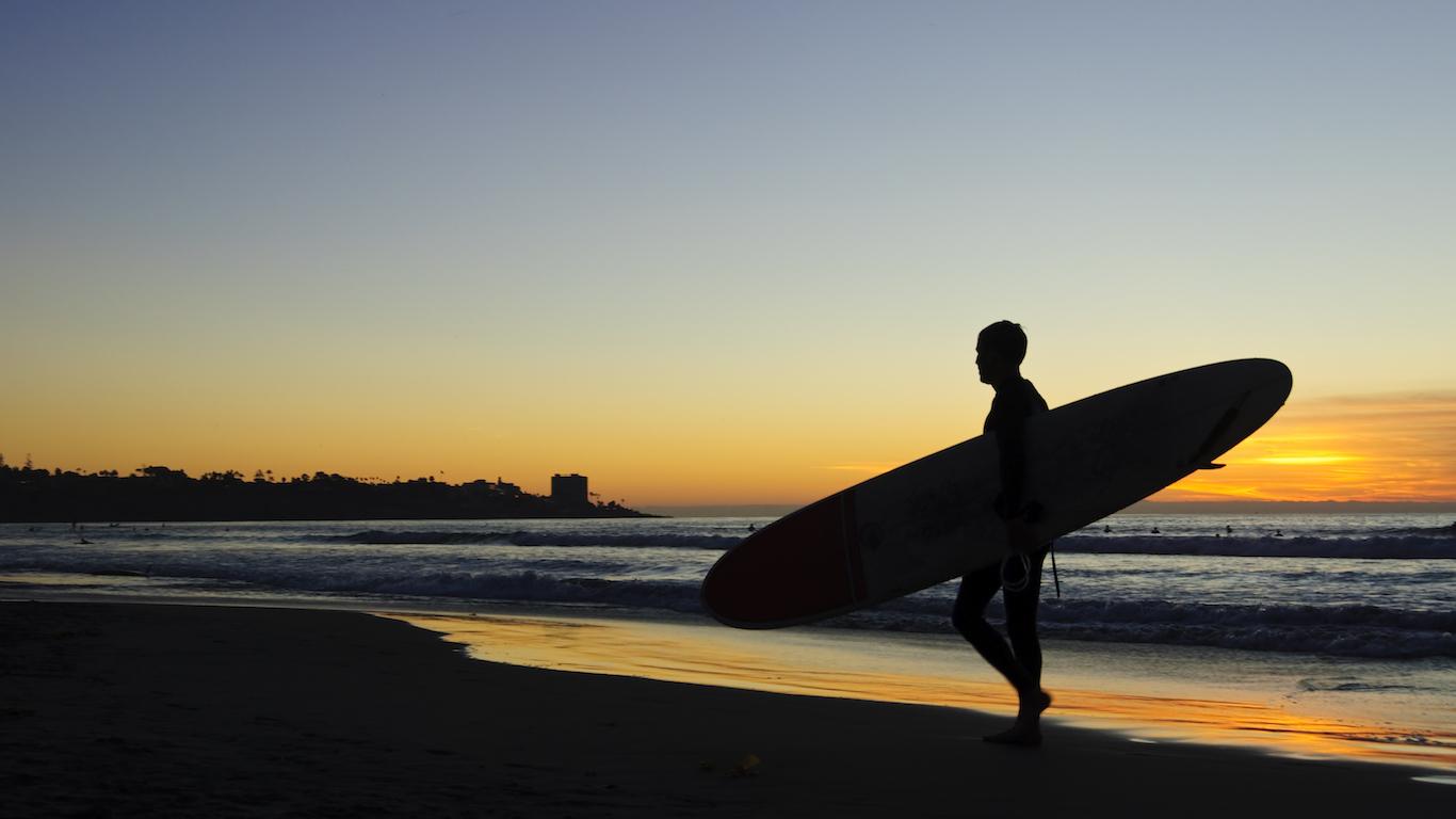 Surfer walking on a beach at sunset San Diego, California