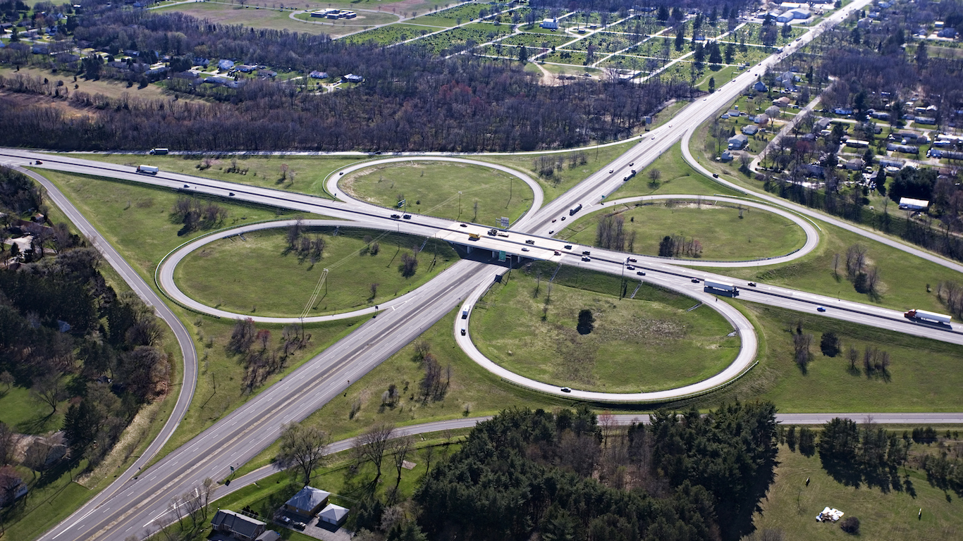 Aerial view of Cloverleaf Freeway Intersection in South Bend, Indiana