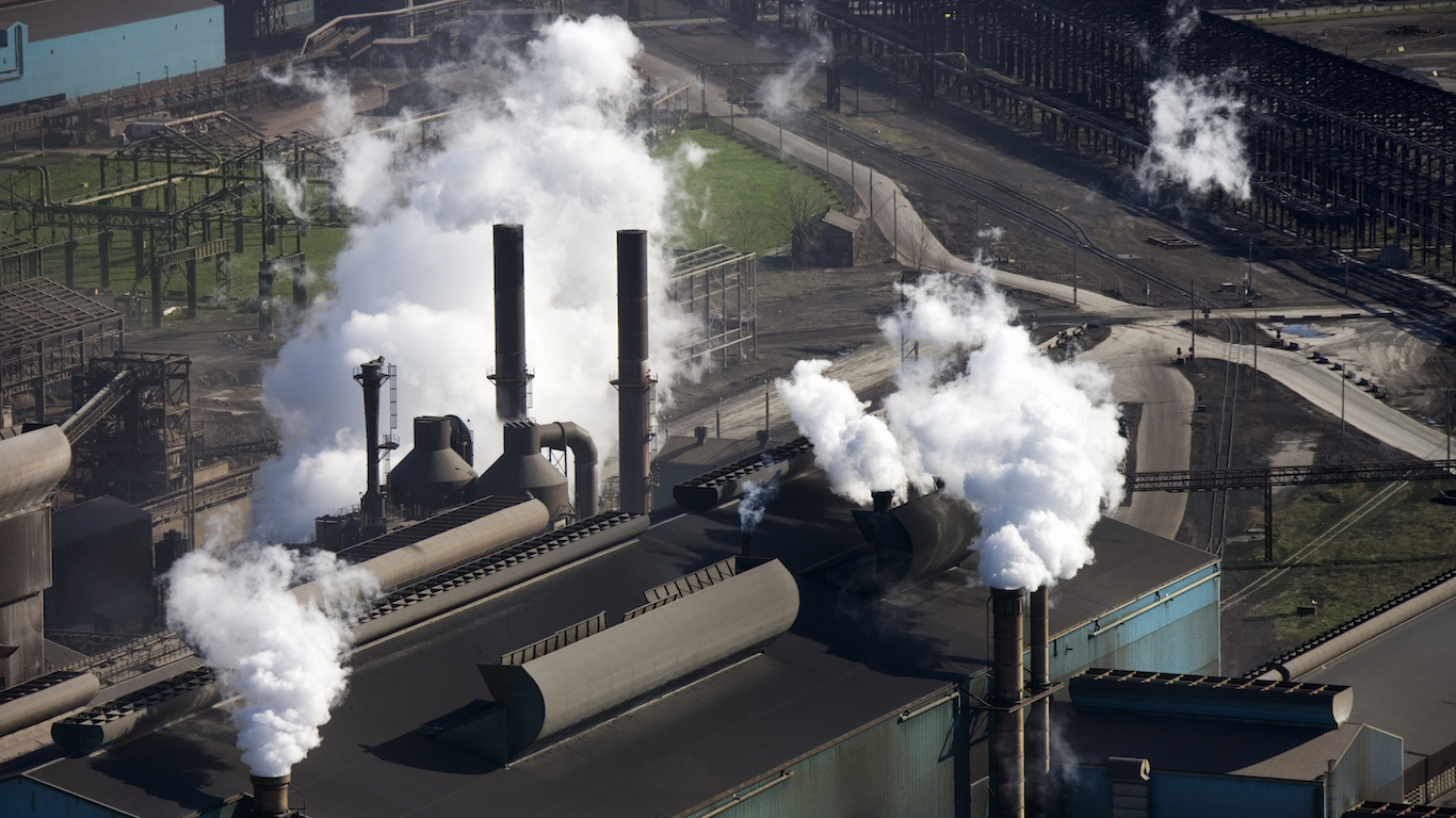 Aerial view of factory in Gary, Indiana