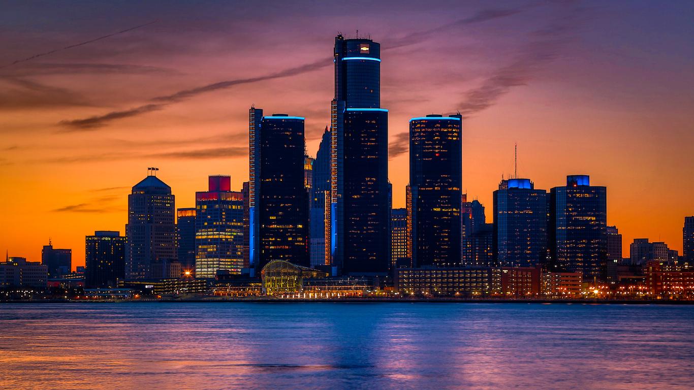 Skyline at Golden Hour Detroit, Michigan
