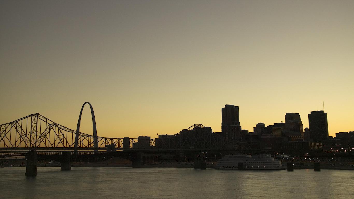 St Louis, Missouri skyline at sunset