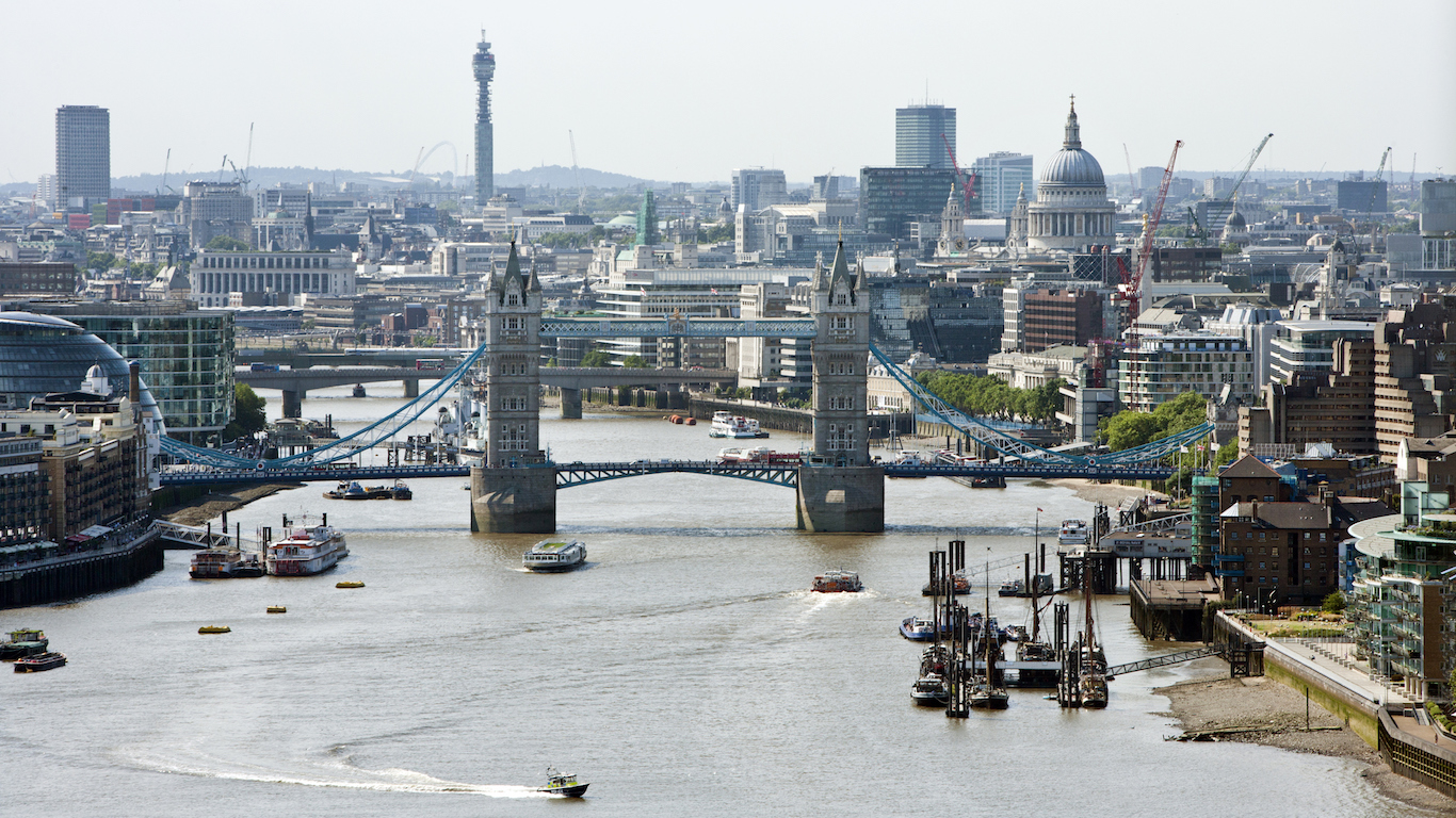 Elevated view of Tower Bridge and St Pauls, London, England, United Kingdom