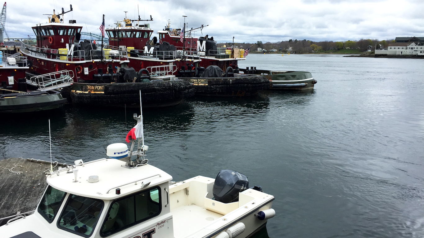Tugboats in the harbor of an Ocean in Rhode Island