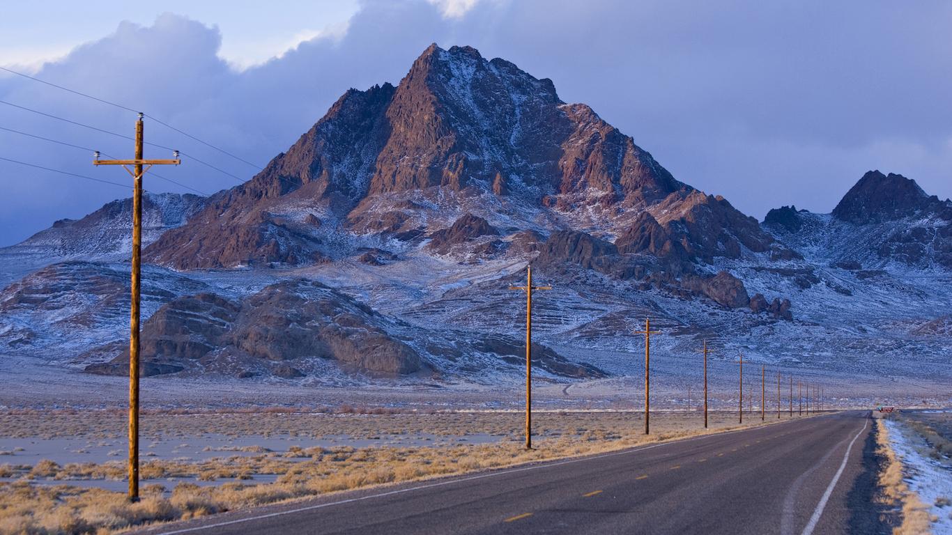 Road leading towards a mountain, Wendover Peak, Utah, USA