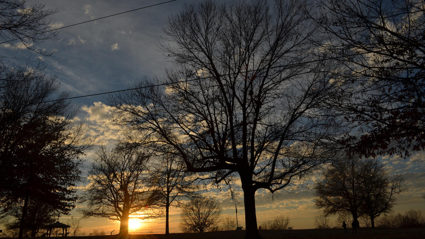 """It is winter sunset, and shot in Fort Smith, Arkansas. What impressed me is the sky presenting indigo blue, which is gorgeous. Add in the shadow of the trees, I soak myself in a picture scroll of """"Alternating light and shade""""."""