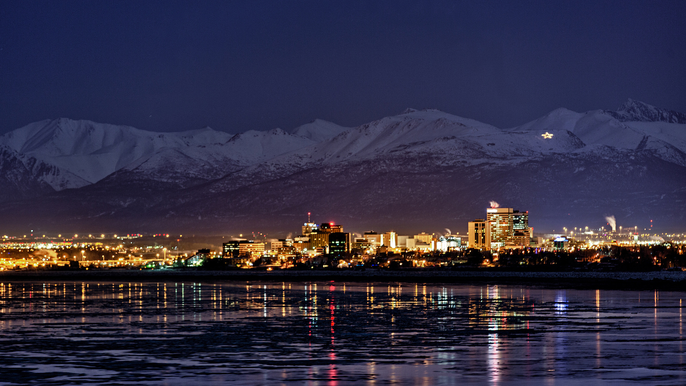 Anchorage, Alaska at night in winter