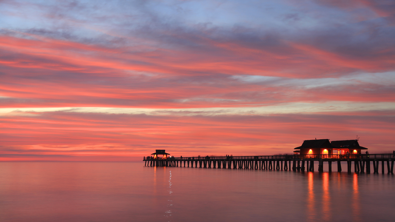 Naples Pier at sunset, Gulf of Mexico, USA