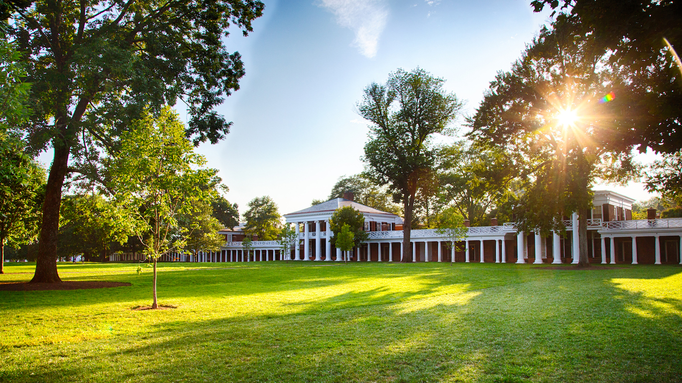The Afternoon sun on the Lawn at the University of Virginia campus an iconic and historic university. Charlottesville, Virginia