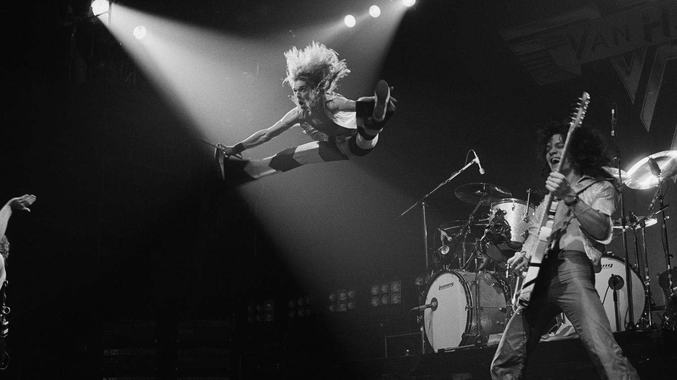 Van Halen 5 American Rock Band Poster Roth Music Star Black White Guitar Stage