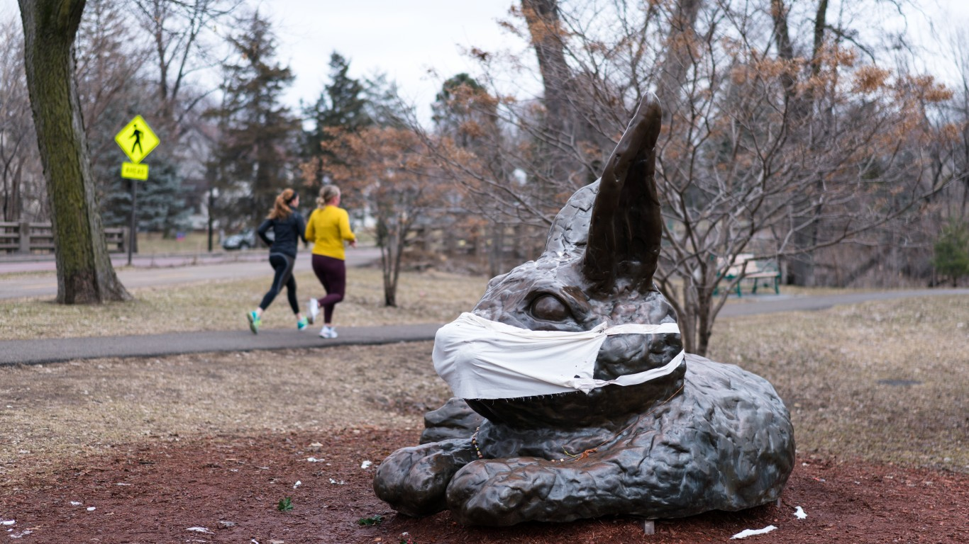 A giant rabbit statue wearing ... by Lorie Shaull