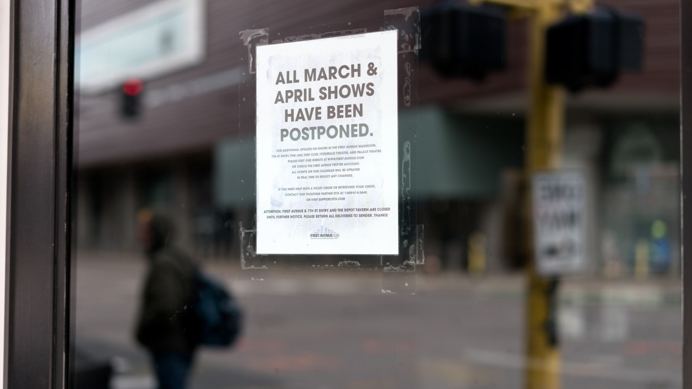 A sign about cancelled shows a... by Lorie Shaull